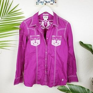 ARIAT | Western Fitted Pink Embellished Shirt sz L